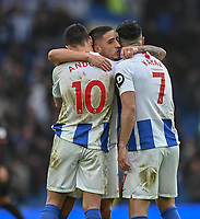 Brighton & Hove Albion's Anthony Knockaert (center) shows the emotion of the Brighton win with winning goal scorer Brighton & Hove Albion's Florin Andone (left) <br /> <br /> Photographer David Horton/CameraSport<br /> <br /> The Premier League - Brighton and Hove Albion v Huddersfield Town - Saturday 2nd March 2019 - The Amex Stadium - Brighton<br /> <br /> World Copyright © 2019 CameraSport. All rights reserved. 43 Linden Ave. Countesthorpe. Leicester. England. LE8 5PG - Tel: +44 (0) 116 277 4147 - admin@camerasport.com - www.camerasport.com