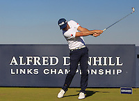 Julien Quesne (FRA) on the 8th tee during Round 1 of the 2015 Alfred Dunhill Links Championship at Kingsbarns in Scotland on 1/10/15.<br /> Picture: Thos Caffrey | Golffile