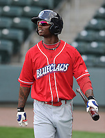 Center fielder Kyrell Hudson (13) of the Lakewood BlueClaws prior to a game against the Greenville Drive on the Drive's Opening Day, April 5, 2012, at Fluor Field at the West End in Greenville, South Carolina. (Tom Priddy/Four Seam Images)