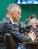 """Michael Horn, President and CEO of Volkswagen Group of America, listens to the member's opening statements as he waits to testify before the United States House Energy and Commerce Committee's Oversight and Investigations Subcommittee on """"Volkswagen's Emissions Cheating Allegations: Initial Questions"""" on Capitol Hill in Washington, DC on Thursday, October 8, 2015.<br /> Credit: Ron Sachs / CNP"""