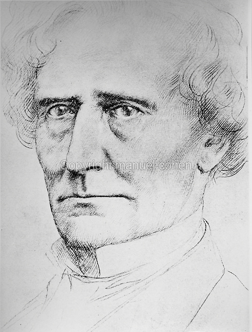 Portrait of Hector Berlioz, 1803-69, French Romantic composer, drawing, 1860, by Alphonse Legros, 1837-1911, French artist. Copyright © Collection Particuliere Tropmi / Manuel Cohen