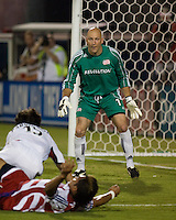 New England Revolution goalkeeper Matt Reis (1) eyes the play.  New England Revolution defeated FC Dallas 3-2 to capture the 2007 Lamar Hunt U.S. Open Cup at Pizza Hut Park in Frisco, TX on October 3, 2007.
