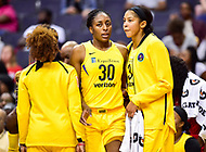 Washington, DC - June 15, 2018: Los Angeles Sparks forward Nneka Ogwumike (30) and Los Angeles Sparks forward Candace Parker (3) talk on the sideline during game between the Washington Mystics and Los Angeles Sparks at the Capital One Arena in Washington, DC. (Photo by Phil Peters/Media Images International)