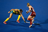 2nd February 2020; Sydney Olympic Park, Sydney, New South Wales, Australia; Womens International FIH Field Hockey, Australia versus Great Britain Women; Lily Owsley of Great Britain goes past Renee Taylor of Australia