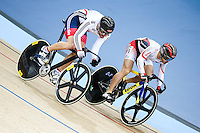 Picture by Charlie Forgham-Bailey/SWpix.com - 04/03/2016 - Cycling - 2016 UCI Track Cycling World Championships Day 3 - Lee Valley VeloPark, London, England - Callum Skinner of GB coming from behind to beat Seiichiro Nakagawa of Japan in the Men's Sprint 1/16 Finals