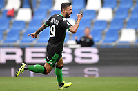 Francesco Caputo of US Sassuolo celebrates after scoring the goal of 1-0 <br /> Reggio Emilia 22/09/2019 Stadio Citta del Tricolore <br /> Football Serie A 2019/2020 <br /> US Sassuolo - SPAL <br /> Photo Andrea Staccioli / Insidefoto
