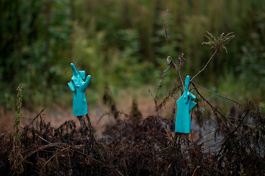 Rubber gloves are left outside a house in the evacuated town of Namie in Fukushima prefecture September 13, 2013. Namie's more than 20,000 residents can visit their homes once a month with special permissions but are not allowed to stay overnight inside the exclusion zone. A total of 160,000 people had been forced to leave their homes around Daiichi plant after the government ordered the evacuation following the nuclear disaster in March 2011.  REUTERS/Damir Sagolj (JAPAN)