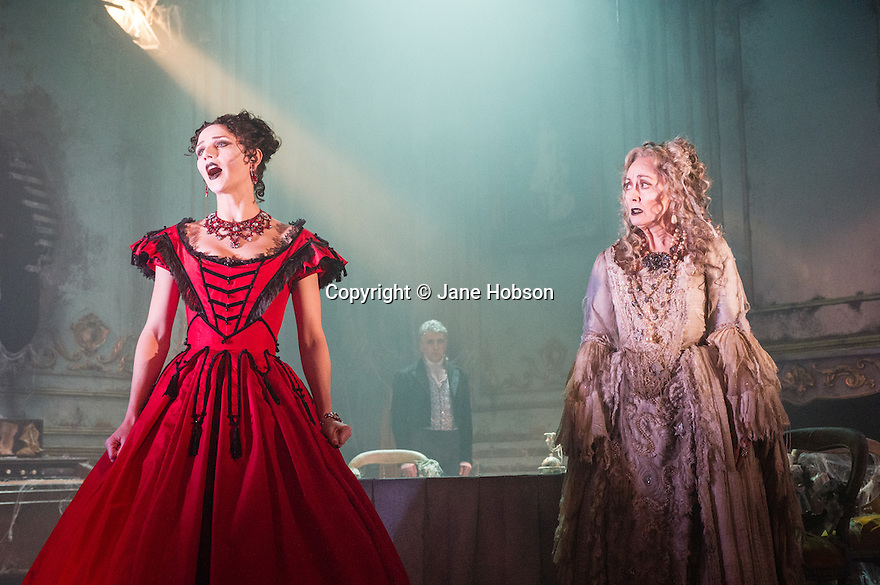 London, UK. 04.02.2013. GREAT EXPECTATIONS opens at the Vaudeville Theatre. Directed by Graham McLaren, this is the first time there has been a production as a full-scale stage play either in the West End or Broadway. Picture shows: Grace Rowe (Estella) and Paula Wilcox (Miss Havisham). Photo credit: Jane Hobson.