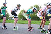 INLINE-SKATEN: STEENWIJK: Gagelsweg (start/finish), Schansweg, Meppelerweg, KPN Inline Cup, Klim van Steenwijk, 02-05-2012, Willem Hut (#26), Rob Hadders (#8),Bob de Vries (#1), ©foto Martin de Jong