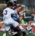 Francis Howell Central's Carter Redford (left) and DeSmet's Henry Lawlor battle for the ball. DeSmet defeated Francis Howell Central 2-1 on Saturday September 14, 2019.<br /> Tim Vizer/Special to STLhighschoolsports.com