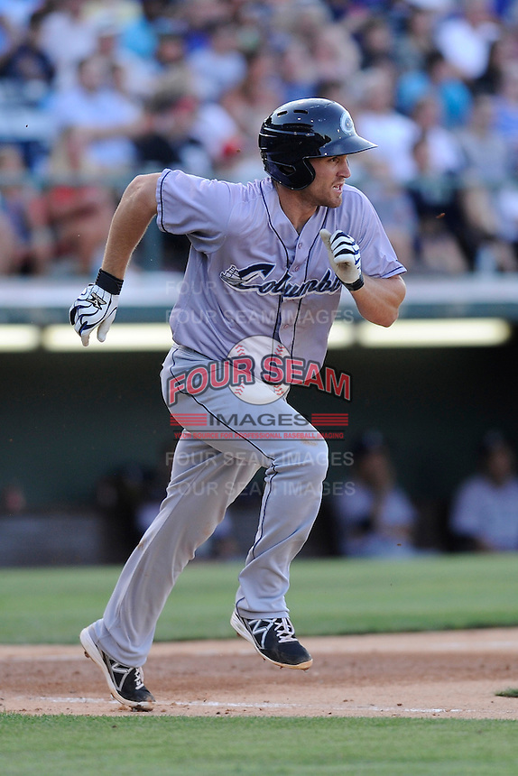 First baseman Cord Phelps (24) of the Columbus Clippers in a game against the Charlotte Knights on Saturday, June 15, 2013, at Knights Stadium in Fort Mill, South Carolina. Columbus won, 4-2. (Tom Priddy/Four Seam Images)