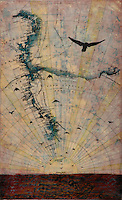 Mixed media photo transfer of birds in flight with encaustic painting over antique map of Antarctica.