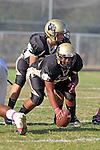 Palos Verdes, CA 10/20/11 - Ernesto Gamboa (Peninsula #53) and Shane Scott (Peninsula #18) in action during the Leuzinger vs Peninsula JV football game.