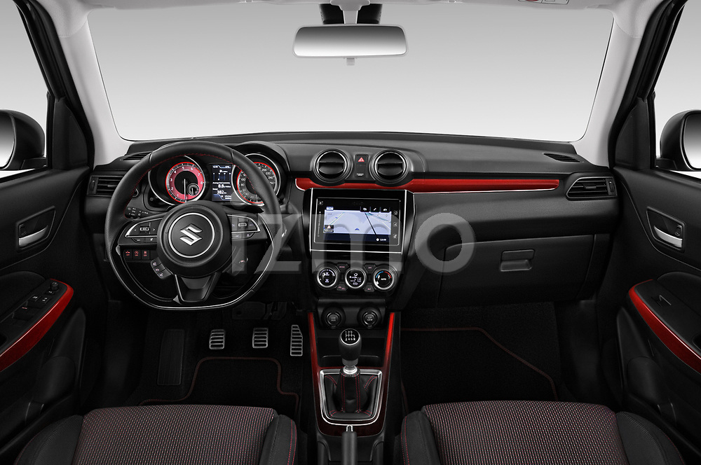 Stock photo of straight dashboard view of a 2018 Suzuki Swift Sport Base 5 Door Hatchback