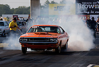 Aug. 30, 2013; Clermont, IN, USA: NHRA super stock driver Eric Bell during qualifying for the US Nationals at Lucas Oil Raceway. Mandatory Credit: Mark J. Rebilas-