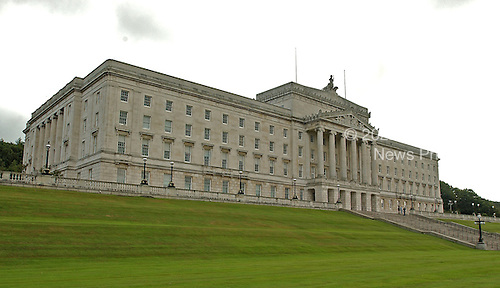 Belfast, Northern Ireland - August 14, 2005 -- View of the parliament building at Stormont in Belfast, Northern Ireland on August 14, 2005.  The Parliament House was built in 1928 - 1932 and is in the Greek classical style.  Its four main floors accommodates the Senate and House of Commons chambers..Credit: Ron Sachs / CNP
