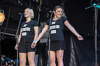 Kate Westall and Kirsten Joy The sing with the Trevor Horn Band during Rewind South, The 80s Festival, at Temple Island Meadows, Henley-on-Thames, England on 20 August 2016. Photo by David Horn.