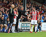 Chris Wilder manager of Sheffield Utd gives instructions to John Fleck of Sheffield Utd  during the English League One match at Glanford Park Stadium, Scunthorpe. Picture date: September 24th, 2016. Pic Simon Bellis/Sportimage