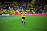 Hurricanes' Jordie Barrett walks off after being yellow carded during the Super Rugby match between the Hurricanes and Blues at Sky Stadium in Wellington, New Zealand on Saturday, 7 March 2020. Photo: Dave Lintott / lintottphoto.co.nz