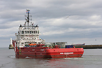 Voss Producer oil supply ship leaving Aberdeen Harbour.