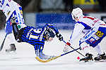 Uppsala 2013-11-13 Bandy Elitserien IK Sirius - IFK Kung&auml;lv :  <br /> Sirius Ilja Grachev faller i en n&auml;rkamp med Kung&auml;lv spelare<br /> (Foto: Kenta J&ouml;nsson) Nyckelord:
