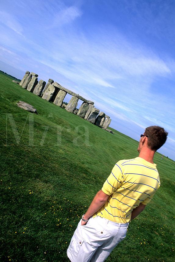 teenage tourist at Stonehenge in England