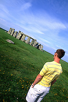 teenage tourist at Stonehenge in England