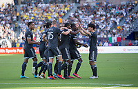 CARSON, CA - SEPTEMBER 29: Doneil Henry #2 of the Vancouver White Caps scores a goal and celebrates during a game between Vancouver Whitecaps and Los Angeles Galaxy at Dignity Health Sports Park on September 29, 2019 in Carson, California.