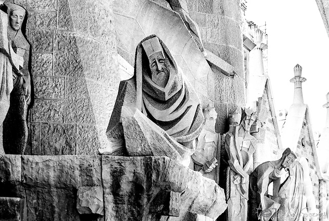 Statue at the Gaudi designed cathedral La Sagrada Familia in Barcelona, Spain <br />