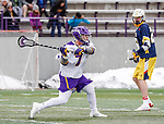 University at Albany Men's Lacrosse defeats Drexel 18-5 on Feb. 24 at Casey Stadium.  Mitch Laffin (#7) shoots. (Photo by Bruce Dudek / Cal Sport Media/Eclipse Sportswire)