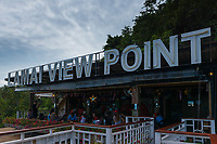 Lamai Viewpoint sign in observation deck cafe, Samui island, Thailand