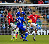 3rd February 2019, King Power Stadium, Leicester, England; EPL Premier League Football, Leicester City versus Manchester United; Alexis Sanchez of Manchester United and Nampalys Mendy of Leicester City challenge for the ball