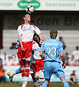 Andy Drury of Stevenage Borough wins a header during the Blue Square Premier match between Stevenage Borough and York City at the Lamex Stadium, Broadhall Way, Stevenage on Saturday 24th April, 2010..© Kevin Coleman 2010 ..