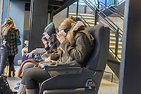 Visitors to the Samsung 837 showroom in the Meatpacking District in New York experience the Samsung VR virtual reality goggles, seen on Saturday, February 27, 2016. The showroom in the trendy Meatpacking district does no sales but is a showcase for Samsung products. (© Richard B. Levine)