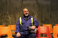 "Pictured: Actor Sion Tudor Owen<br /> Re: Press rehearsal of ""We'Re Still Here"", a play created by Rachel Trezise, Common Wealth and the National Theatre Wales about steelworkers, which will be performed in Byass Works, a disused industrial unit, in Port Talbot, south Wales, UK."