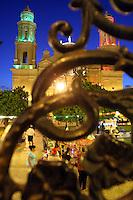 Catedral tricolor por los festejos patrios vista desde los trabajos de herrer'a artesanal del kiosco de la Plaza Zaragoza