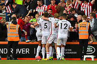Billy Sharp of Sheffield United celebrates his goal with the travelling fans during AFC Bournemouth vs Sheffield United, Premier League Football at the Vitality Stadium on 10th August 2019