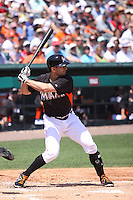 Miami Marlins center fielder Justin Ruggiano (20) at bat against the Detroit Tigers during a spring training game at the Roger Dean Complex in Jupiter, Florida on March 25, 2013. Detroit defeated Miami 6-3. (Stacy Jo Grant/Four Seam Images)........