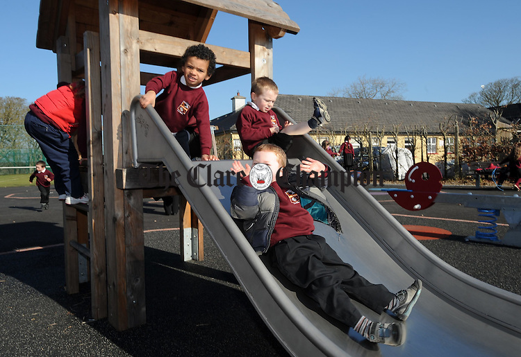 Young pupils having fun on the slides  at St Joseph's National School, Kinvara. Photograph by John Kelly.