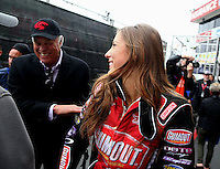 Feb 9, 2014; Pomona, CA, USA; Don Prudhomme (left) with NHRA top fuel dragster driver Leah Pritchett during the Winternationals at Auto Club Raceway at Pomona. Mandatory Credit: Mark J. Rebilas-