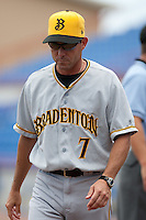 P.J. Forbes (7) Manager of the Bradenton Marauders during a game vs. the Dunedin Blue Jays May 16 2010 at Dunedin Stadium in Dunedin, Florida. Bradenton won the game against Dunedin by the score of 3-2.  Photo By Scott Jontes/Four Seam Images