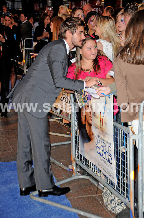 **ALL ROUND PICTURES FROM SOLARPIX.COM**                                             **WORLDWIDE SYNDICATION RIGHTS**                                                                                  Caption: The Death And Life Of Charlie St Cloud UK film premiere at the Empire Leicester Square, London, UK. 16 September 2010                                                                         This pic: Zac Efron                                                                                            JOB REF: 12106 MSR       DATE: 16_09_2010                                                           **MUST CREDIT SOLARPIX.COM OR DOUBLE FEE WILL BE CHARGED**                                                                      **MUST AGREE FEE BEFORE ONLINE USAGE**                               **CALL US ON: +34 952 811 768 or LOW RATE FROM UK 0844 617 7637**