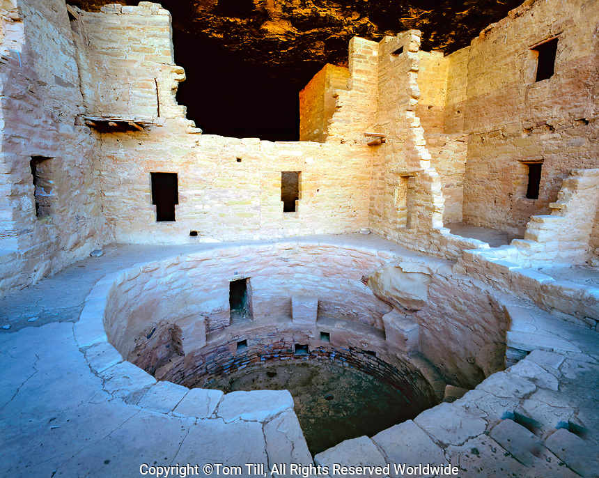 KIva and walls, Mesa Verde National Park, Colorado, Ancient Ancestral Puebloan cliff dwellings