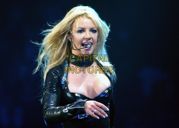 BRITNEY SPEARS.performs live for her opening show of Onyx Hotel Tour 2004 held at San Diego Sports Arena in San Diego, California .02 March 2004.*UK Sales Only*.music, singing, stage, concert, gig, cleavage.www.capitalpictures.com.sales@capitalpictures.com.©Capital Pictures.