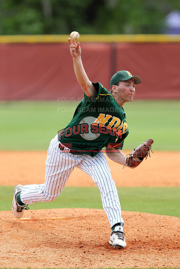 North Dakota State Bison pitcher David Ernst #10 during a game against the Pennsylvania Quakers at Henley Field on March 11, 2012 in Lakeland, Florida.  North Dakota State defeated Pennsylvania 15-3.  (Mike Janes/Four Seam Images)