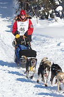 Ryne Olson on Long Lake at the Re-Start of the 2012 Iditarod Sled Dog Race