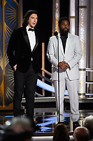 Adam Driver and John David Washington present at the 76th Annual Golden Globe Awards at the Beverly Hilton in Beverly Hills, CA on Sunday, January 6, 2019.<br /> *Editorial Use Only*<br /> CAP/PLF/HFPA<br /> Image supplied by Capital Pictures