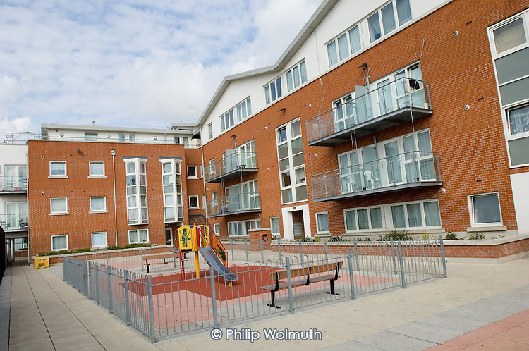 Play area at Quayside House, Kensal Road, North Kensington: a development of mixed tenure social housing and offices by the Network Housing Group and Wates.