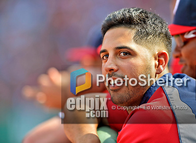 10 June 2012: Washington Nationals pitcher Gio Gonzalez watches play from the dugout during a game against the Boston Red Sox at Fenway Park in Boston, MA. Harper scored the game winning run in the 9th inning as the Nationals defeated the Red Sox 4-3 to sweep their 3-game interleague series. Mandatory Credit: Ed Wolfstein Photo