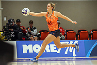 All Stars Ellie Bird stretches out for the ball during the Cadbury Netball Series match between NZ Men and All Stars at the Bruce Pullman Arena in Papakura, New Zealand on Friday, 28 June 2019. Photo: Dave Lintott / lintottphoto.co.nz